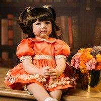 Soft Silicone Vinyl Dolls 60cm Doll Reborn Baby Brown long hair Girl Handmade Cotton Body Lifelike Bebe juguetes Babies Toys bon
