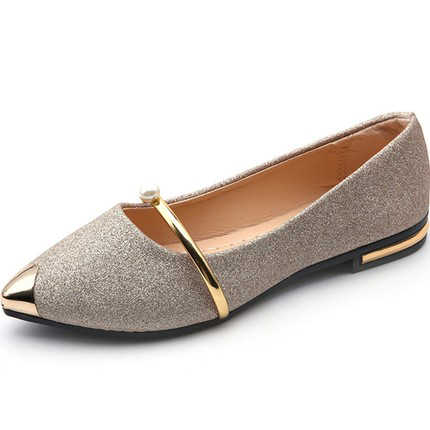 cd72e5676f Casual Shoes Women Shallow Single Shoes Ladies Slip On Flat Ballet Flats  Pointed Toe Golden Silver Shoes Pearls Metal comfor