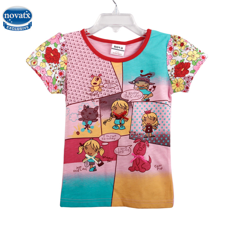 001ba825f865 novatx K3990 print cartoon animal children clothes nova kids summer cotton short  sleeve high quality girl t-shirt new sale