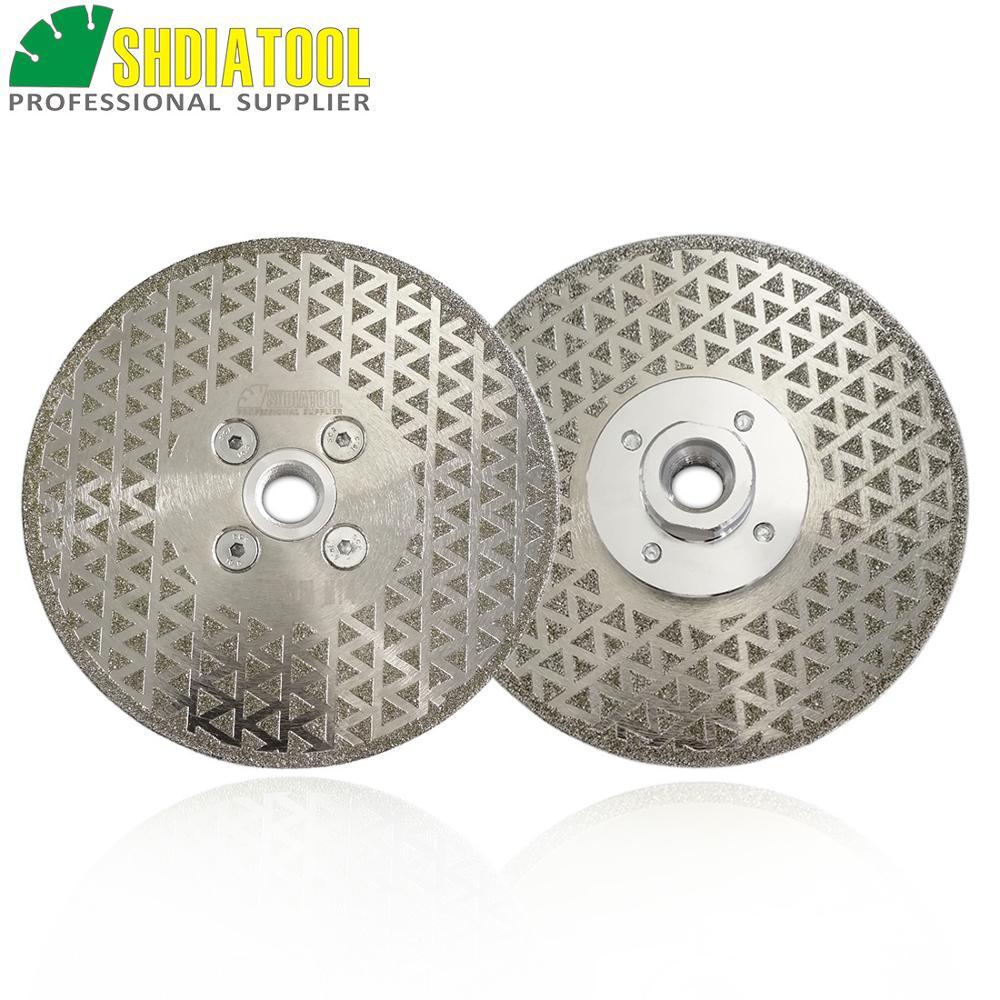 SHDIATOOL 2pcs 125mm M14 Flange Electroplated Diamond Cutting Grinding Discs Stone Sawblade Both Side Coated Diamond