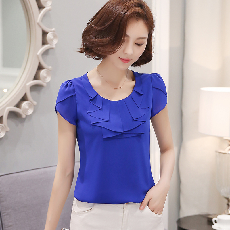 2019 New Plus Size  Short Sleeve Chiffon Women Blouse  O-neck Blue  Fashion Elegant Sweet Women Shirt  Tops 861C 25