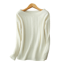 2017 new style 100% pure cashmere pullover boat/slash neck soft thick warm sweater pullovers for women