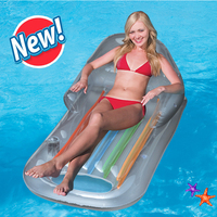 Blue Inflatable Floating Row Swimming Leisure Adult Floating Chair with Arm Chair Beach Bathing Swim Air Pads PVC Inflatable Bed