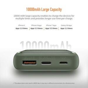 Image 4 - 18W PD QC 3.0 10000mah güç bankası ROCK Mini LED harici pil USB PD hızlı için hızlı şarj Powerbank iPhone Xiaomi Samsung