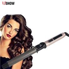 USHOW Rizador de pelo de titanio profesional, máquina de ondas de varita, cerámica automática