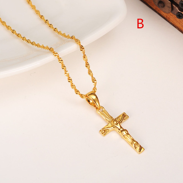 24k gold color women girls necklace pendant chain men jewelry 24k gold color women girls necklace pendant chain men jewelry antique cross crucifix jesus cross pendant aloadofball Image collections