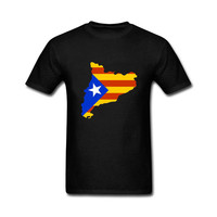 Fashion Newest Top Tee Mens 2017 Various Colors Funny Cotton Catalonia Map With Flag Tee Funny