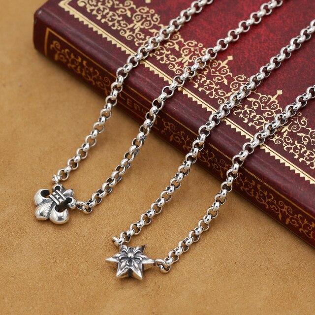 Ручной работы Реального Чистого Серебра Ссылка Ожерелье 925 Женщины Ожерелье Дизайнер Старинные Серебряная Звезда Neckace