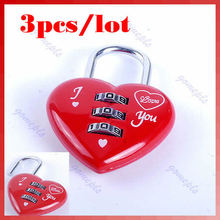 3 unids/lote Lindo Mini 3 Dígitos Código de Bloqueo de la Maleta Del Equipaje Del Candado En Forma de Corazón Rojo