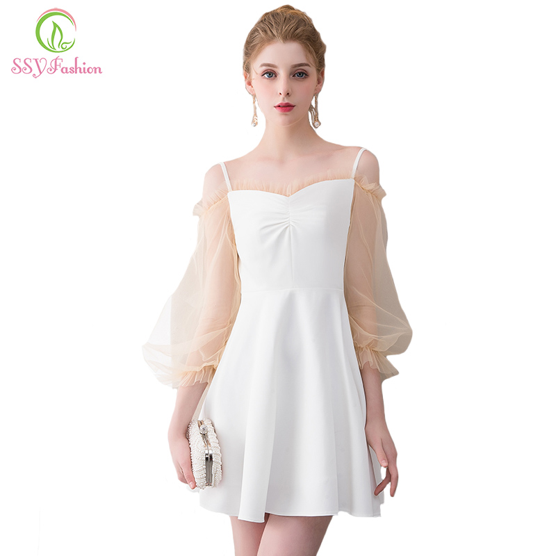 Ssyfashion New Simple Short Cocktail Dress White Mini Long Sleeved