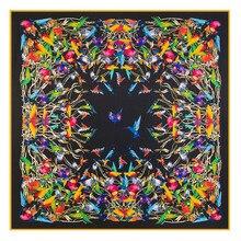 130*130cm New Fashion 100% Twill Silk Large Square Scarf Women  Birds Printed Scarves Shawls Ladys Wraps Hijab Bandana
