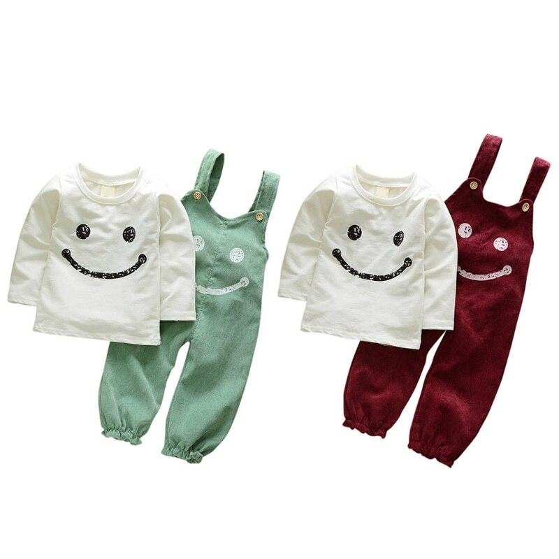 2017 Autumn Winter Kids Clothing Set Baby Boy Cotton Blend Printed T-shirt+ Suspender Pants Children Set Clothes 2 Colors J2