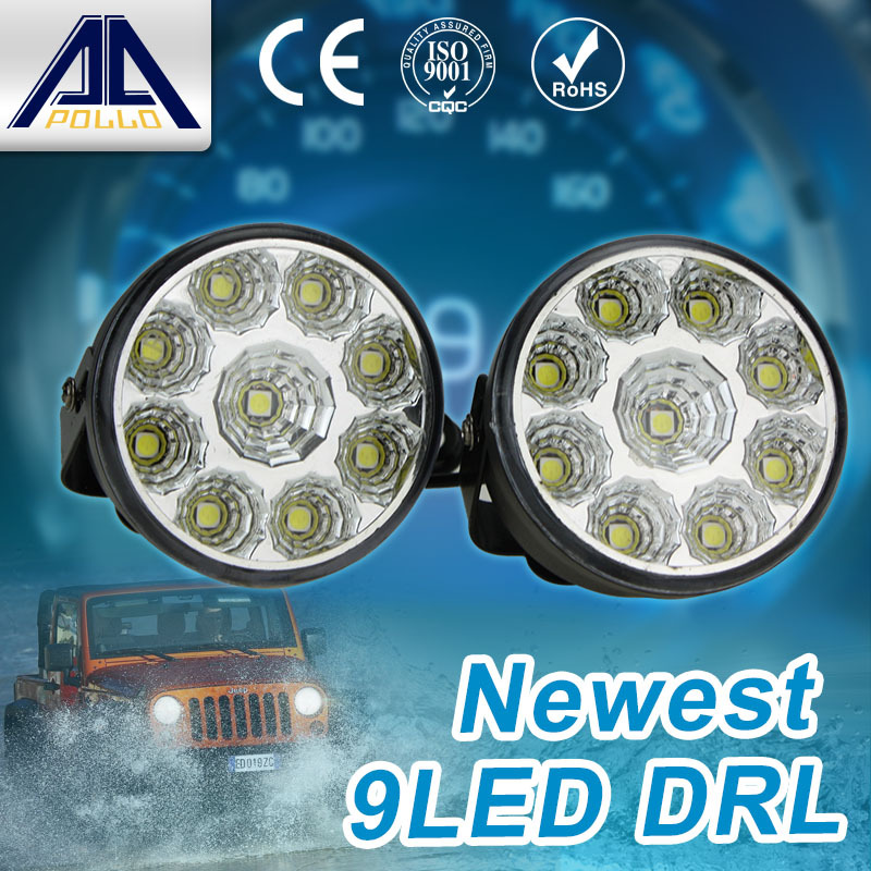 Super Bright DRL 2pcs x 9 LED Car head Front Round Fog Tail light Off-road Lamps parking Lamp Daytime Running Lights