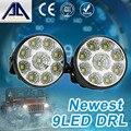 Super Brilhante DRL 2 pcs x 9 LED Car cabeça Frente rodada luz Da Cauda luz de Nevoeiro Off-road Lâmpadas estacionamento Lâmpada de Circulação Diurna luzes