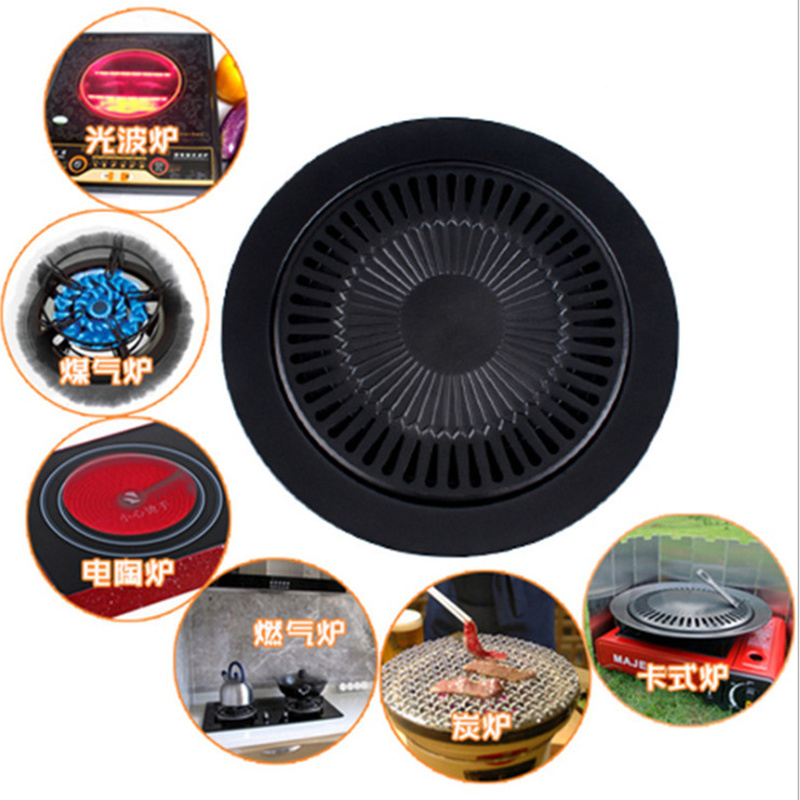 Korean Outdoor Barbecue Grill Non-stick BBQ Pan Round Easily Cleaned Grills Barbecue Accessories Tools ...