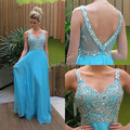 Sexy Spaghetti Strap A Line Chiffon Beaded Sky Blue Long Evening Dresses 2017 Special Occasion Dress Backless Court Train 511163