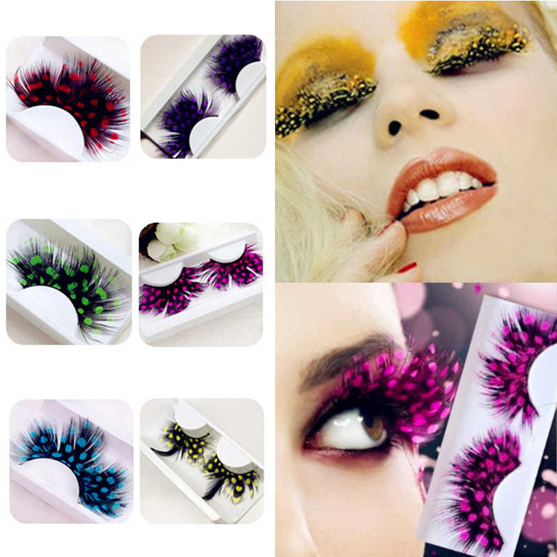4ea4060354c ... 1 Pair Fashion Colors Cosplay Halloween Feather False Eyelashes Handmade  Party Exaggerated Fake Eye Lashes Extension ...