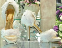 2016 Popular Fashion Lady s White Satin Feather Wedding Bridesmaid Party Prom Dress Heels font b