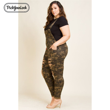 Plus Size Women Rompers Overalls Casual Camouflage Jumpsuits With Hole High Street Fashion Lady Rompers 1