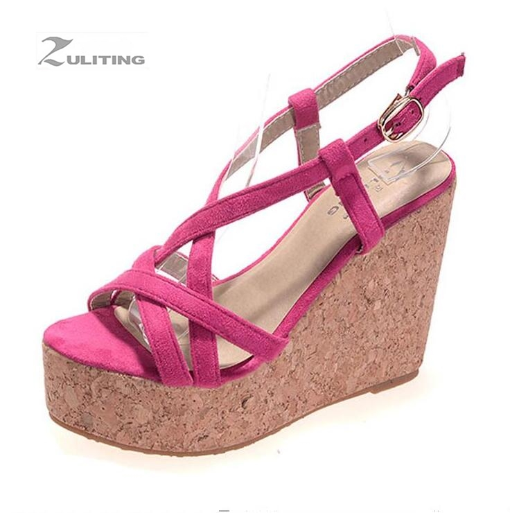 summer new women s shoes cashmere slope with high heeled waterproof platform thick sandals Size 30