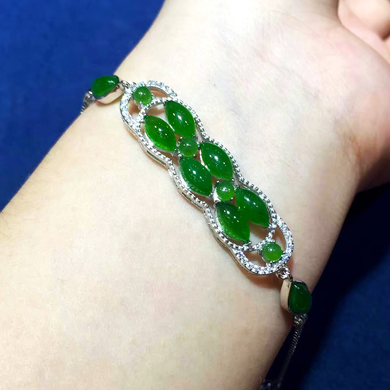 Fashion Noble Female Retro Thai Silver S925 Sterling Silver Natural Hetian Jade Jasper Women Bracelet