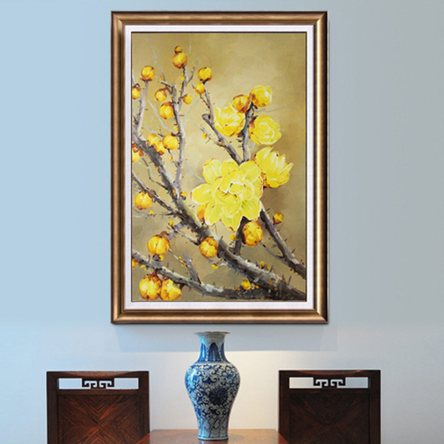 Hand Painting Wintersweet Flowers Oil Painting On Canvas Home ...
