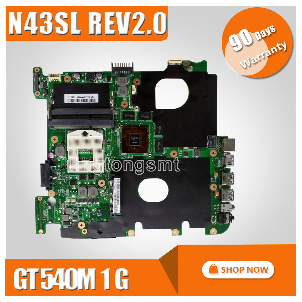 For ASUS N43SL Laptop motherboard REV:2.0 GT 540M 1GB DDR3 VRAM mainboard 100% Tested