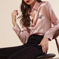 New Brand LA Pearl Shine 100 Silk Fly Bird Embroidery Women Long Sleeve Shirt Lady Silk