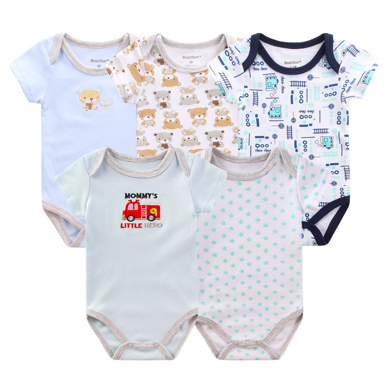 5pcs/lot Baby Clothes Summer Baby Rompers Cotton Short Sleeve Baby Clothing Newborn Girl Boy Overalls Roupas Bebes Bear Jumpsuit