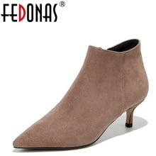 FEDONAS nowych kobiet botki krowa Suede jesień zima ciepłe wysokie obcasy buty kobieta urząd Lady eleganckie szpiczasty nosek jakości pompy