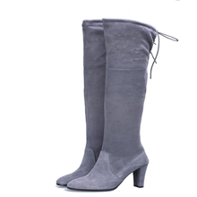 Women's knee-high boots High heels Shoes Women Lacing sheepskin Pure color sexy Autumn and winter Size 34-40 Black gray