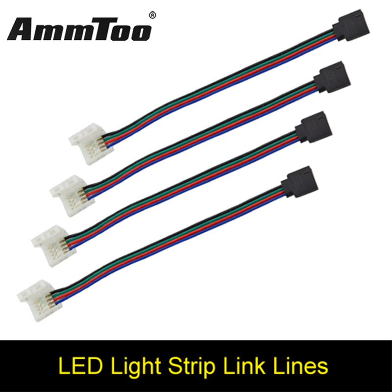 4pin RGB Female Led Strip No Soldering Connector Clip Cable Led Tape Extension Wire For 3528 5050 RGB LED Strip Ribbon Tape
