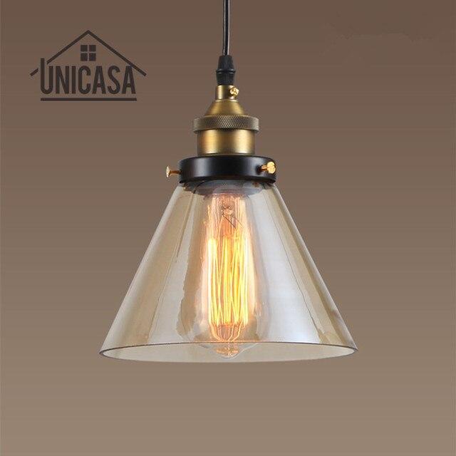 UNICASA Modern Pendant Lights Amber Glass Lighting Fixtures Retro Hotel