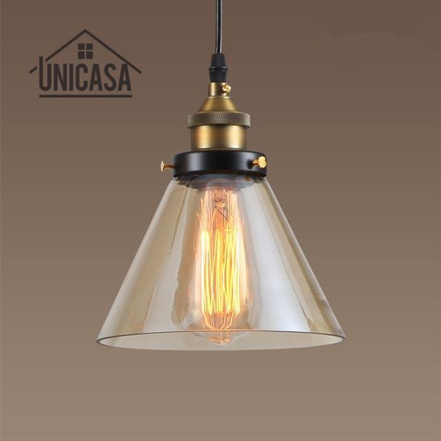 Moderno Lámparas colgantes vidrio ámbar Iluminación lámparas Retro ...