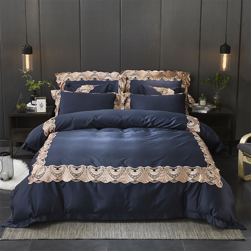 2018 Luxury Tencel Classics Lace Solid Bedding Set Embroidery Duvet Cover set Bed Sheet Pillowcases Queen King Size 4/6Pcs2018 Luxury Tencel Classics Lace Solid Bedding Set Embroidery Duvet Cover set Bed Sheet Pillowcases Queen King Size 4/6Pcs