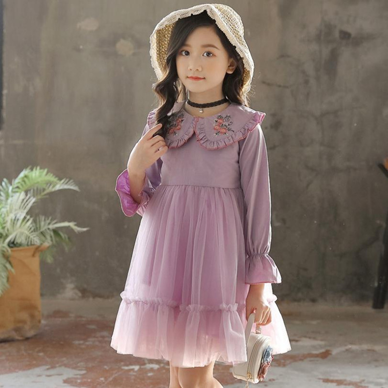 New Clothes Teenagers Girl Dress 2019 Spring Fashion Long Sleeve Embroidery Peter Pan Collar Net Yarn Princess Dress For 3-12Yrs