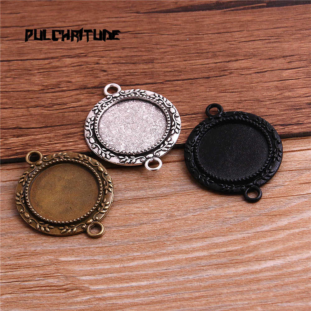 PULCHRITUDE 6pcs/lot Metal Trendy Cameo Diplopore Round Cabochon Pendant Setting Blank Pendants for Jewelry Making T6426