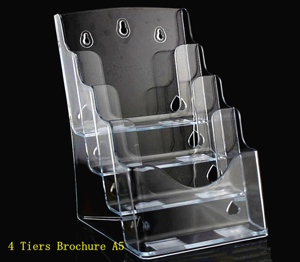 Clear A5 4 Tiers Plastic Acrylic Brochure Literature Pamphlet Display Holder Racks Stand To Insert Leaflet 20pcs a4 4 layer half page brochure holder book data file holder display rack acrylic data file brochure display stand