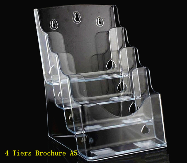 Clear a5 4 tiers plastic acrylic brochure literature for Plastic flyer stand