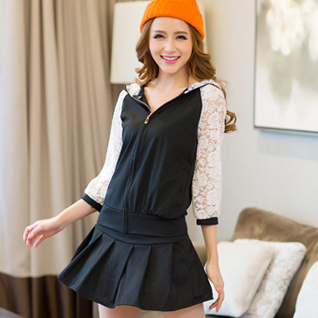 Women's bouses lace patchwork with a hood cardigan bust skirt pants sports twinset free shipping