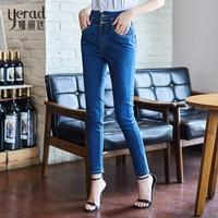 YERAD 2018 Autumn Fashion High Waist Jeans Office Lady Denim Pencil Pants Women Skinny Jeans Plus Size Long Trousers