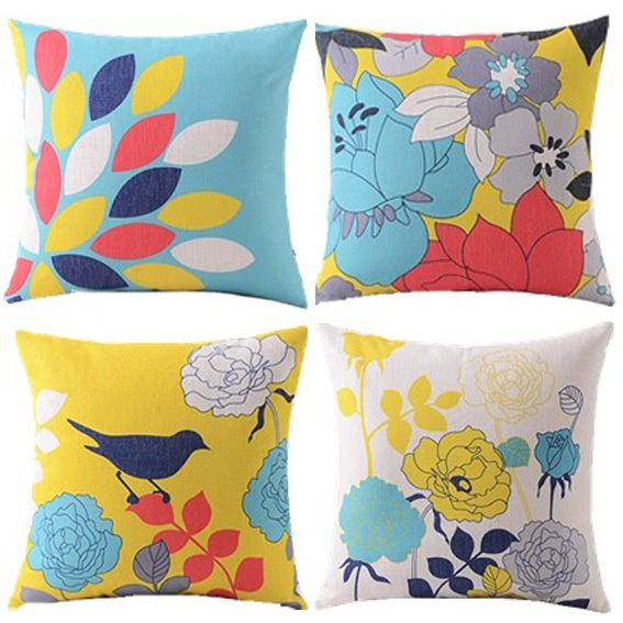 4pcs/ bird/floral/decorative cushion cover/floral pedals/blue yellow/throw pillow case/cotton ...