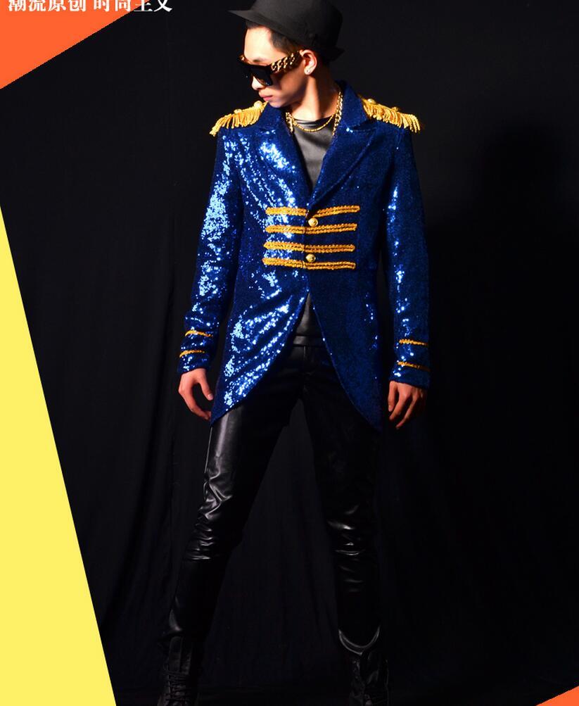 M 4xl 2020 Männer Kleidung der Mode Gericht Wind Blau Pailletten Anzug Mantel Sänger Bühne Kostüme Männer Plus Größe Leistung Kleidung - 2