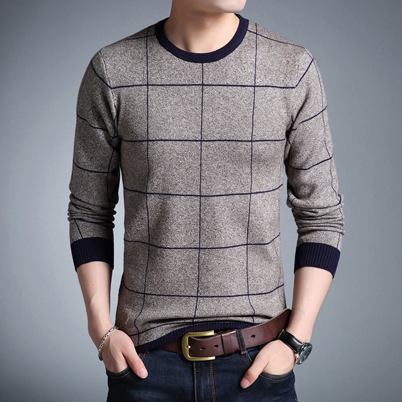 Men's Sweater Pullovers Slim-Fit Knittwear Autumn Striped O-Neck Casual M-3XL Homme