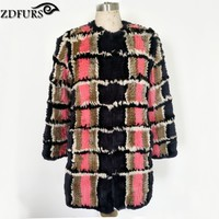 2016 New Arrival Genuine Fur Hand Made Knitted Rex Rabbit Fur Jacket Winter Fur Outerwear Long Style Grid Fur Coat