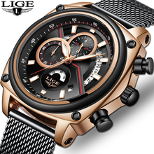 LIGE Chronograph 2019 Watch Men Brand Luxury Military Army Sports Casual Waterproof Mens Watches Quartz Stainless Steel watch