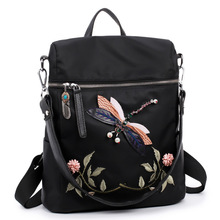 ONEFULL NEW Fashion nylon black backpack women casual all-match national embroidery girls student school floral bag