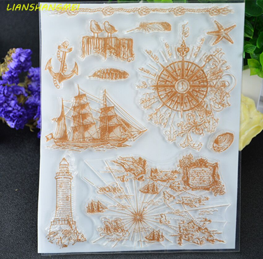 Sailing compass Transparent Clear Silicone Stamp/Seal for DIY scrapbooking/photo album Decorative clear stamp lovely animals and ballon design transparent clear silicone stamp for diy scrapbooking photo album clear stamp cl 278