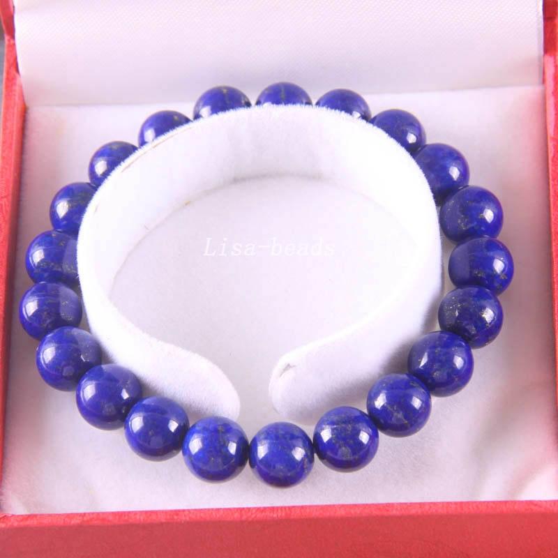 Free Shipping Fine Jewelry Stretch Blue 10MM Round Beads 100% Natural AA Genuine Lapis Lazuli Bracelet 8 with Box 1Pcs J024