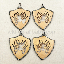 WT-NP254 Special Carved Shield Design Pendant for Necklace,Natural Wood Design Hand Carved Jewelry in High quality Wholesale
